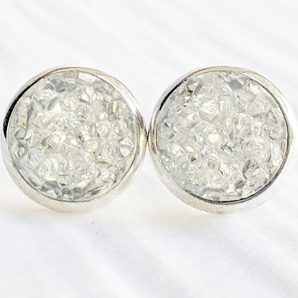 Clear on Silver - Druzy Stud Earrings - Hypoallergenic Posts