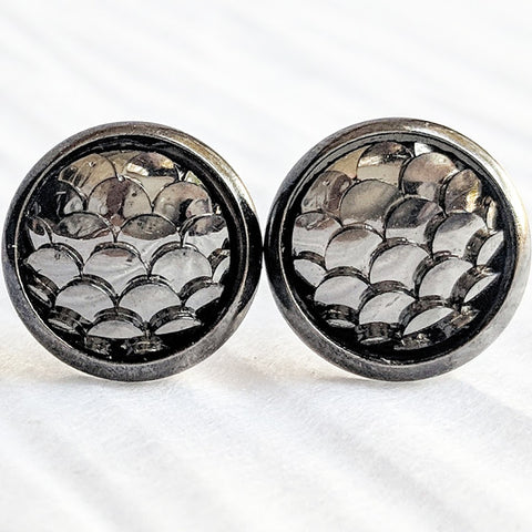 Gunmetal Mermaid Stud Earrings - Hypoallergenic Posts