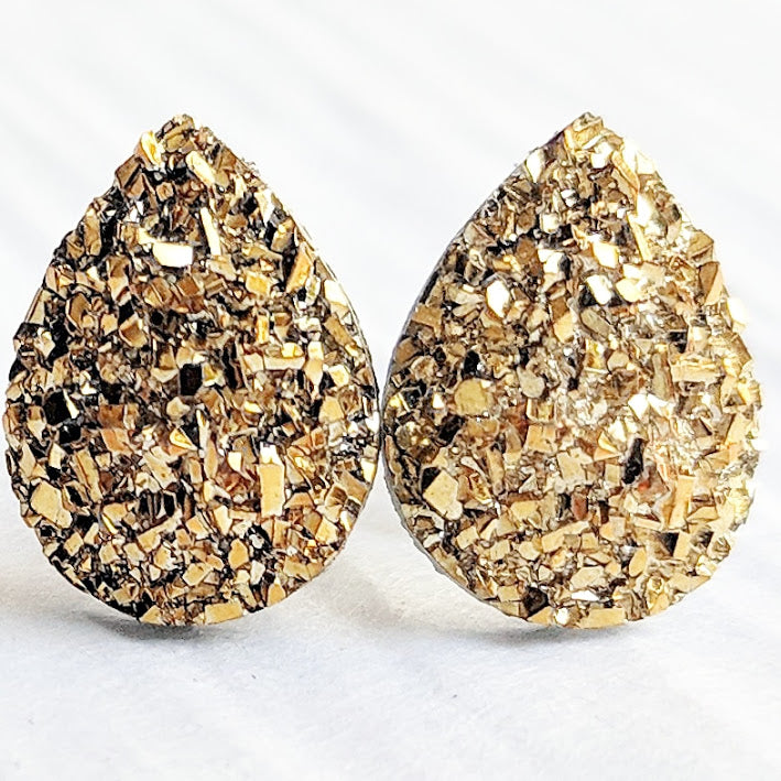 Gold Druzy Teardrop Stud Earrings - Hypoallergenic Titanium Posts