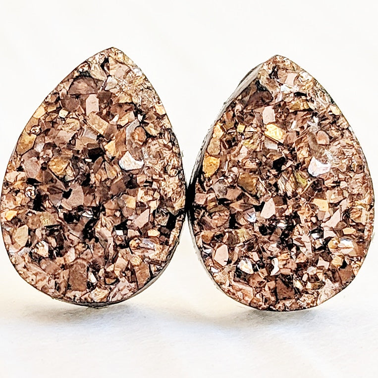 Rose Gold Druzy Teardrop Stud Earrings - Hypoallergenic Titanium Posts