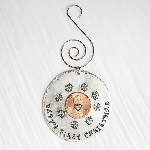 Baby's First Christmas Ornament with 2018 Penny - Collectible Baby Gift