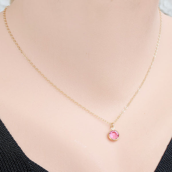 Birthstone Solitaire 14k Gold Filled Necklace