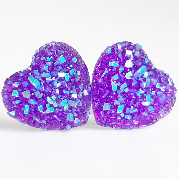 Heart Stud Earrings, 22 Colors Available, Valentine's Day Gift