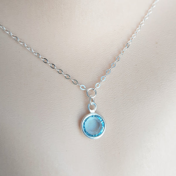 Swarovski Birthstone Solitaire Sterling Silver Dainty Necklace