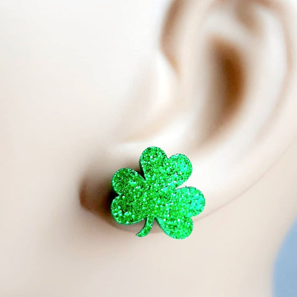 St. Patrick's Day Clover Stud Earrings - Green Glitter Shamrock - Hypoallergenic Surgical Steel