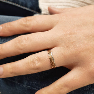 Skinny Hammered Stacking Rings - Sterling Silver, 14k Rose Gold Fill, or 14k Gold Fill