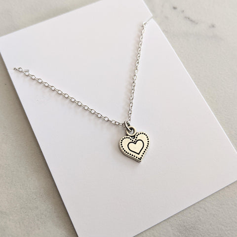 Dainty Silver Plated Heart Necklace - Valentine Jewelry