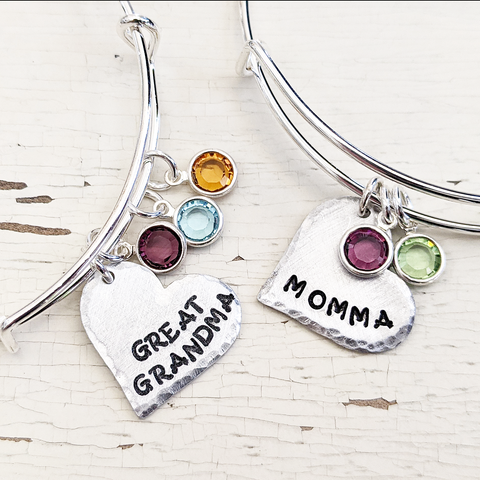 Heart Name Bangle with Birthstones