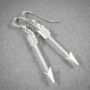 Silver Arrow Earrings on Surgical Steel Wires