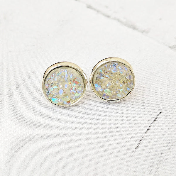 Opal on Silver - Druzy Stud Earrings - Hypoallergenic Posts