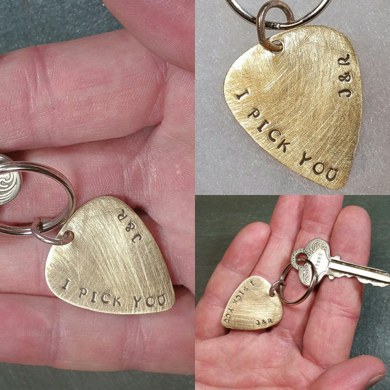I Pick You Guitar Pick Keychain - Golden Brass or Silver Aluminum