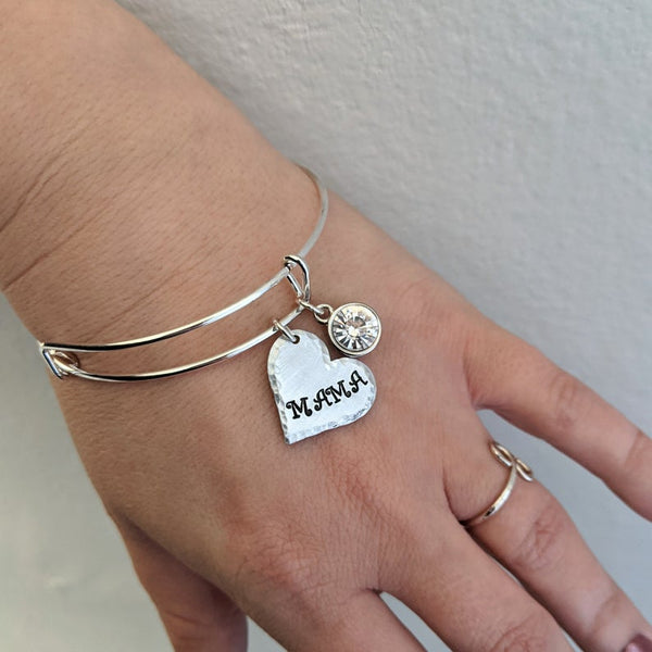 Mom / Grandma Heart Name Bangle