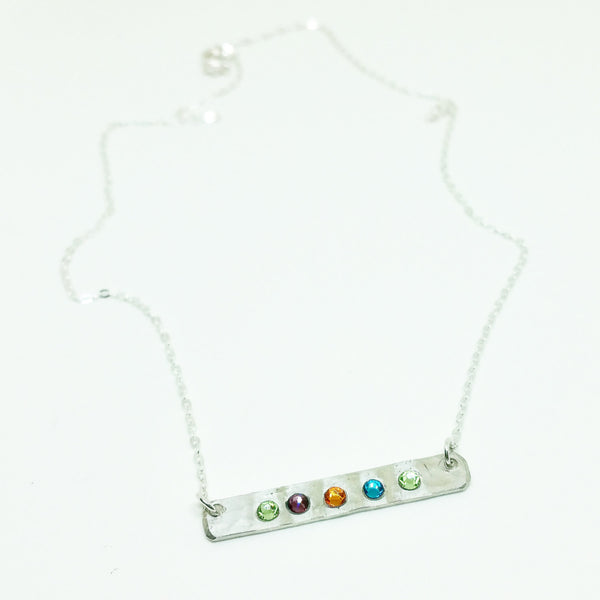 Birthstone Bar Sterling Silver Necklace