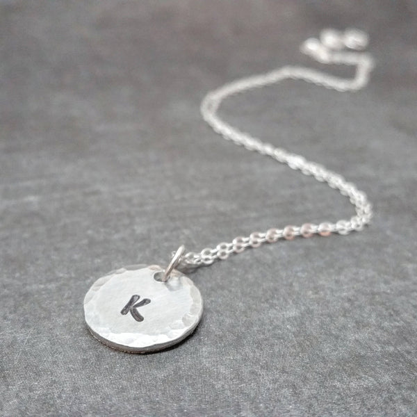 Initial Necklace - Sterling Silver Chain