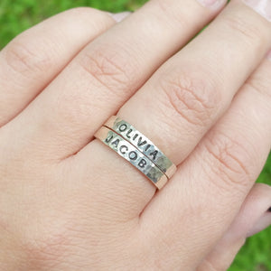 Sterling Silver Stacking Name Ring