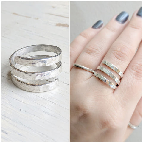 "Sterling Silver Triple Spiral Ring - As Seen On TV CW's ""Charmed"" - Worn by actress Ellen Tamaki as Niko"