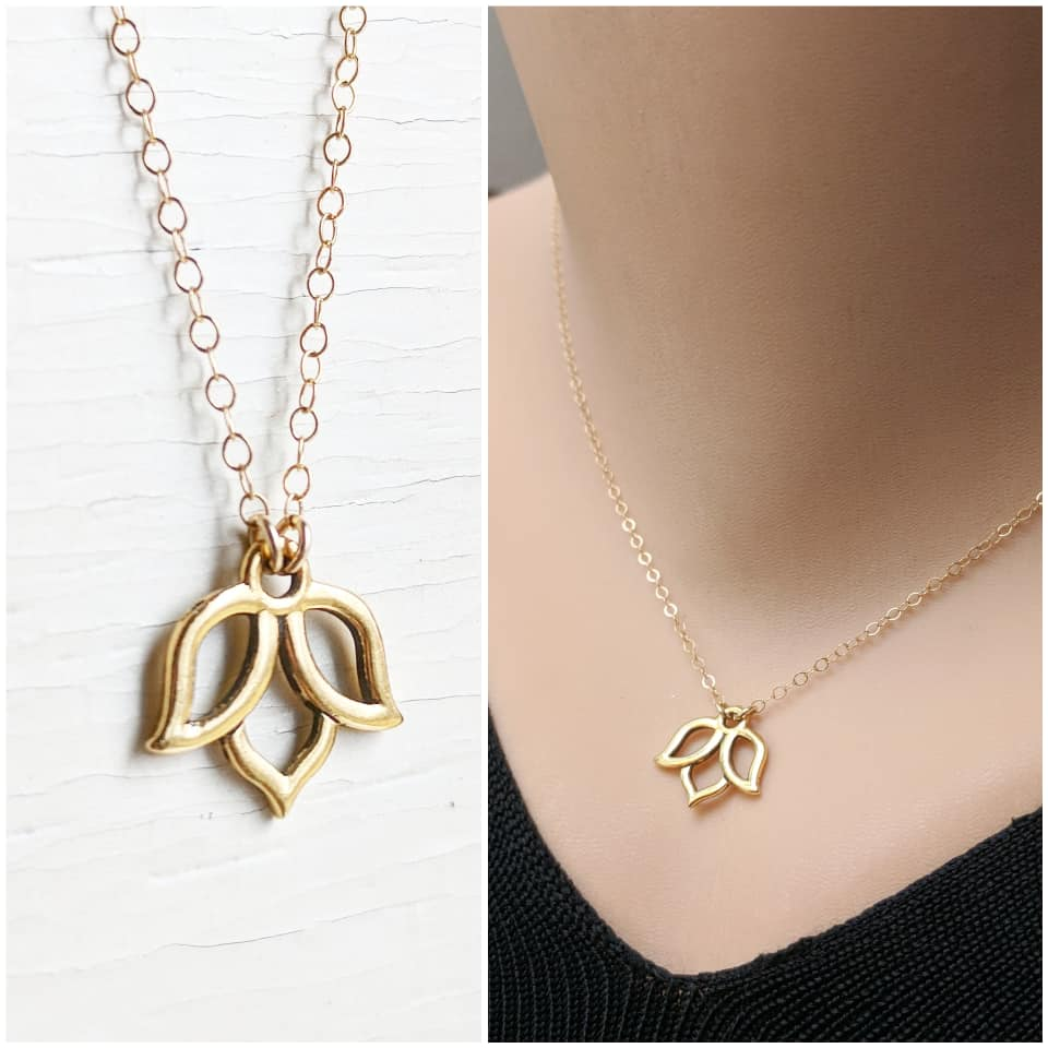 "14k Gold Filled Lotus Necklace - As Seen On TV's ""Fuller House"" - Worn by Jodie Sweetin as Stephanie Tanner Season 4 Episode 7"
