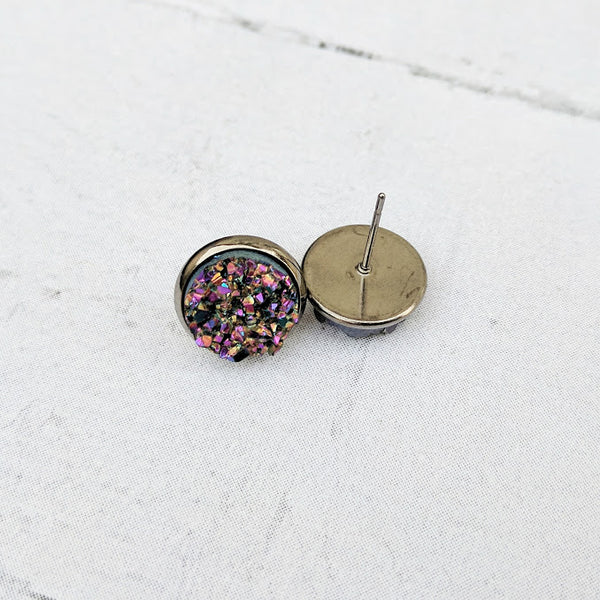 Peacock on Gunmetal - Druzy Stud Earrings - Hypoallergenic Posts