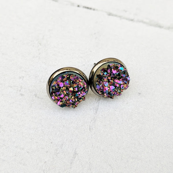 Ultra Violet on Gunmetal - Druzy Stud Earrings - Hypoallergenic Posts