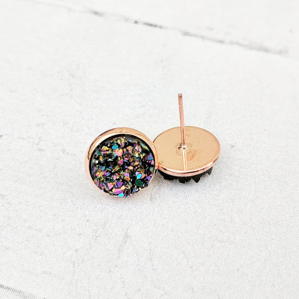Ultra Violet on Rose Gold - Druzy Stud Earrings - Hypoallergenic Posts
