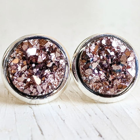 Rose Gold on Silver - Druzy Stud Earrings - Hypoallergenic Posts