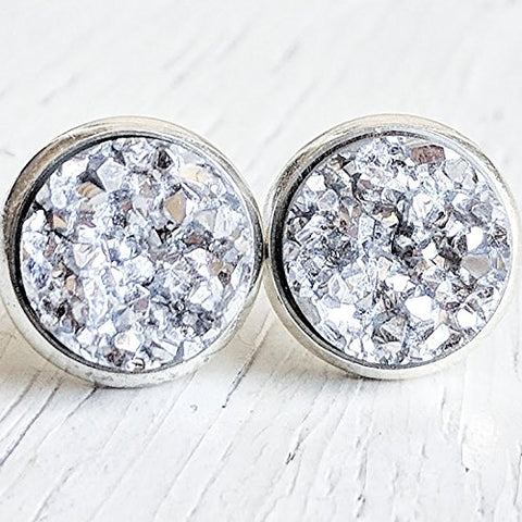 Silver on Silver - Druzy Stud Earrings - Hypoallergenic Posts