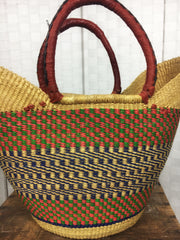 Bolga Tulip Shopper Tote with Leather Handles