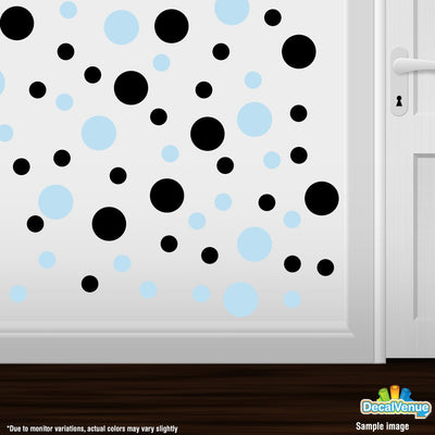 Baby Blue / Black Polka Dot Circles Wall Decals | Polka Dot Circles | DecalVenue.com