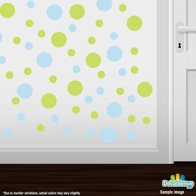 Baby Blue / Chartreuse Polka Dot Circles Wall Decals | Polka Dot Circles | DecalVenue.com