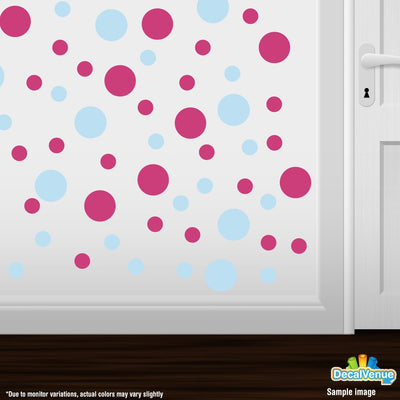 Baby Blue / Hot Pink Polka Dot Circles Wall Decals | Polka Dot Circles | DecalVenue.com
