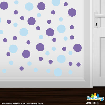Baby Blue / Lavender Polka Dot Circles Wall Decals | Polka Dot Circles | DecalVenue.com