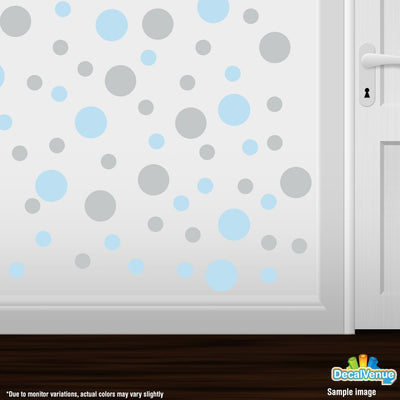 Baby Blue / Light Grey Polka Dot Circles Wall Decals | Polka Dot Circles | DecalVenue.com