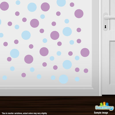 Baby Blue / Lilac Polka Dot Circles Wall Decals | Polka Dot Circles | DecalVenue.com