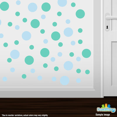 Baby Blue / Mint Green Polka Dot Circles Wall Decals | Polka Dot Circles | DecalVenue.com