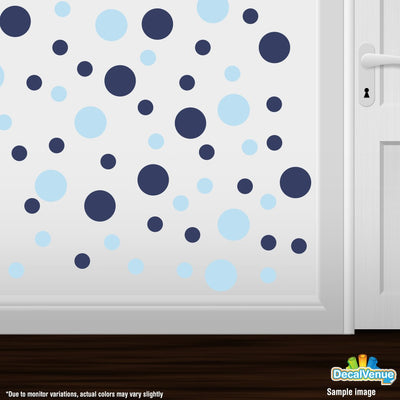 Baby Blue / Navy Blue Polka Dot Circles Wall Decals - Polka Dot Circles  / Decal Venue