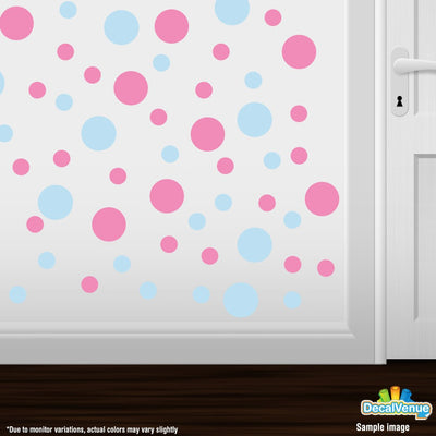 Baby Blue / Pink Polka Dot Circles Wall Decals | Polka Dot Circles | DecalVenue.com