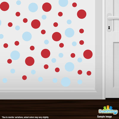 Baby Blue / Red Polka Dot Circles Wall Decals | Polka Dot Circles | DecalVenue.com