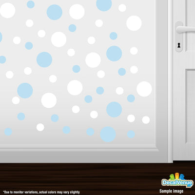 Baby Blue / White Polka Dot Circles Wall Decals | Polka Dot Circles | DecalVenue.com
