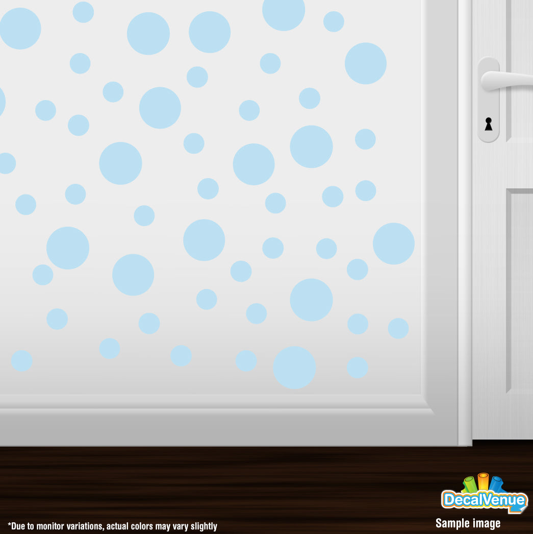 Baby Blue//Turquoise Circles Polka Dots Vinyl Wall Graphic Decals Stickers Set of 30 DecalVenue