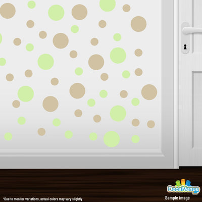 Baby Green / Beige Polka Dot Circles Wall Decals | Polka Dot Circles | DecalVenue.com