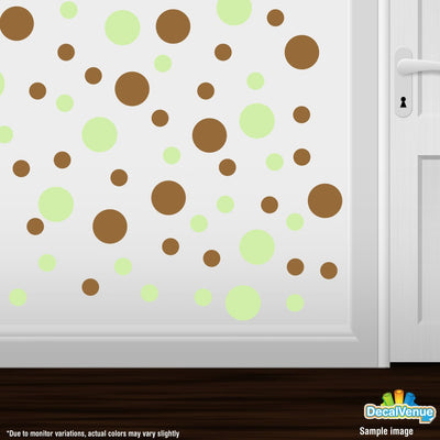 Baby Green / Metallic Copper Polka Dot Circles Wall Decals | Polka Dot Circles | DecalVenue.com