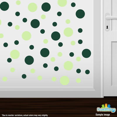 Baby Green / Dark Green Polka Dot Circles Wall Decals | Polka Dot Circles | DecalVenue.com