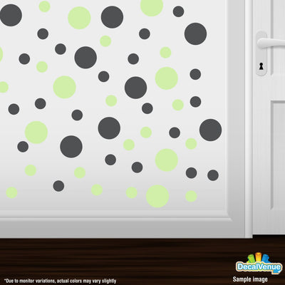 Baby Green / Dark Grey Polka Dot Circles Wall Decals-Polka Dot Circles-Decal Venue