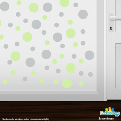 Baby Green / Light Grey Polka Dot Circles Wall Decals-Polka Dot Circles-Decal Venue