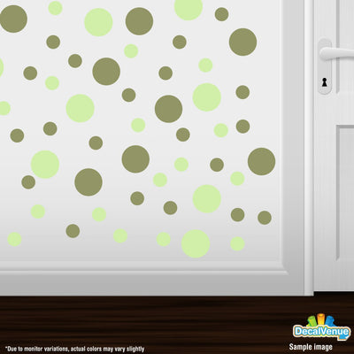 Baby Green / Olive Green Polka Dot Circles Wall Decals | Polka Dot Circles | DecalVenue.com
