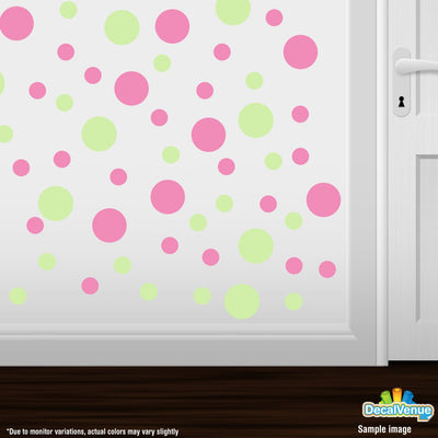 Baby Green / Pink Polka Dot Circles Wall Decals | Polka Dot Circles | DecalVenue.com