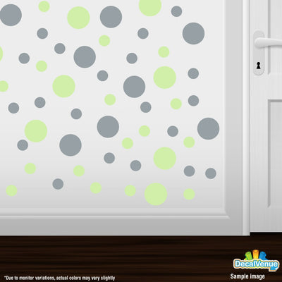 Baby Green / Metallic Silver Polka Dot Circles Wall Decals | Polka Dot Circles | DecalVenue.com