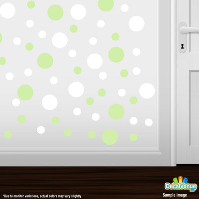 Baby Green / White Polka Dot Circles Wall Decals | Polka Dot Circles | DecalVenue.com