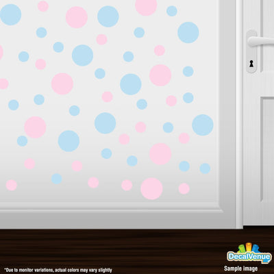 Baby Pink / Baby Blue Polka Dot Circles Wall Decals | Polka Dot Circles | DecalVenue.com