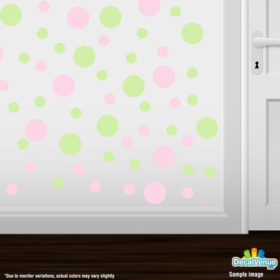 Baby Pink / Baby Green Polka Dot Circles Wall Decals | Polka Dot Circles | DecalVenue.com